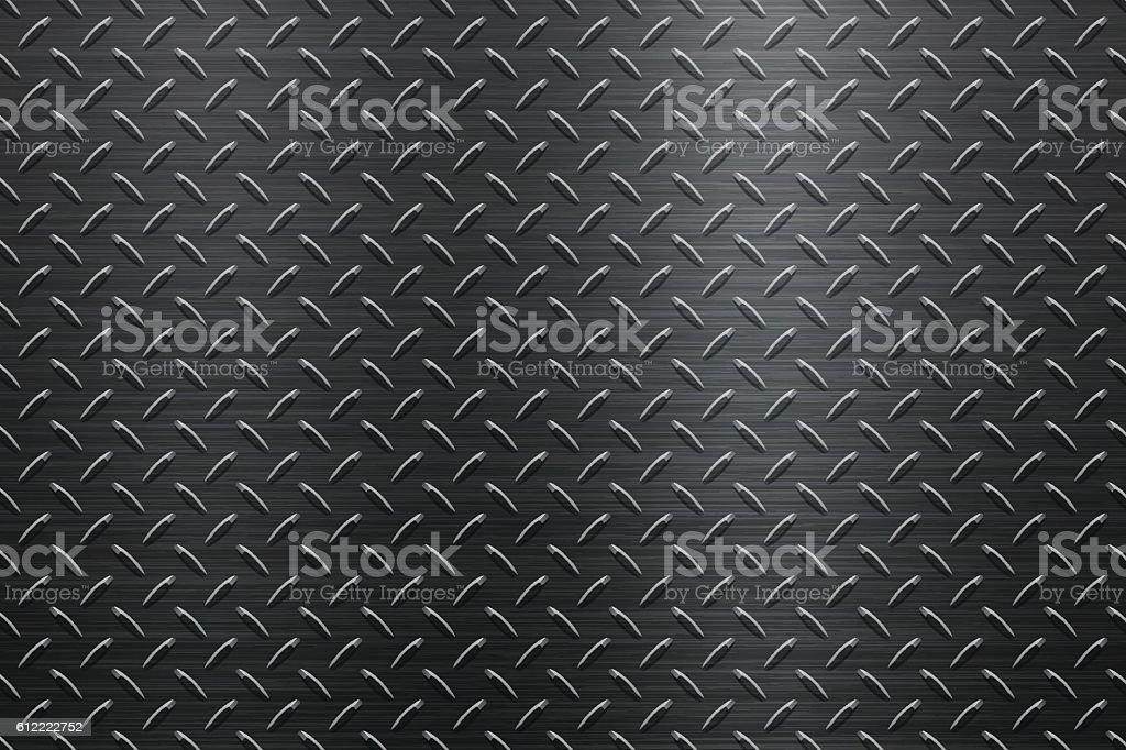 Background of Metal Diamond Plate in Black Color vector art illustration