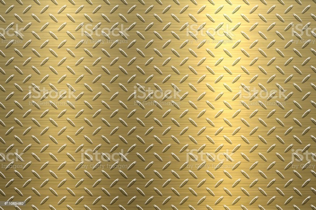 Background of Metal Diamond Plate in Gold Color vector art illustration