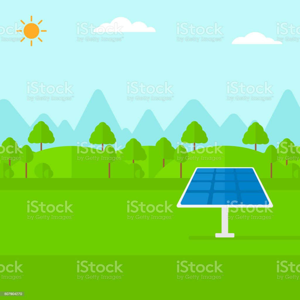 Background of mountains with solar panel vector art illustration