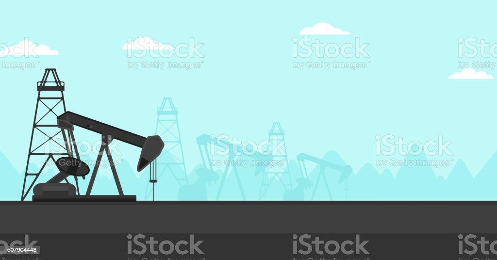 Background of oil derrick vector art illustration