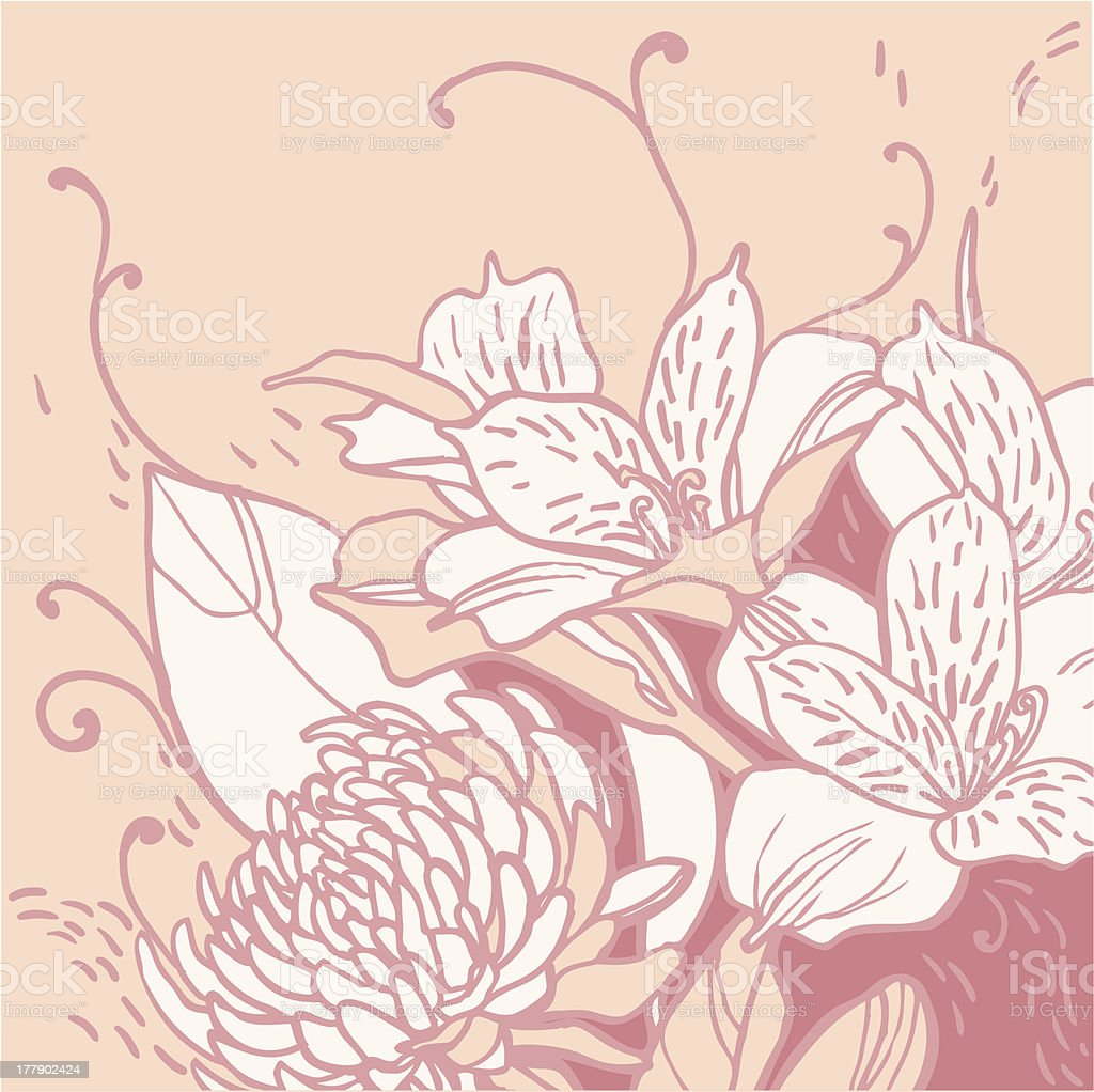background of pastel colored lilies royalty-free stock vector art