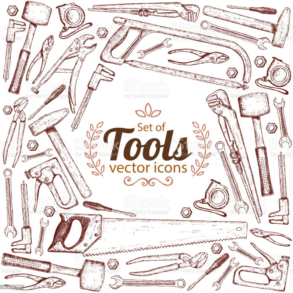 Background of repair tools icons vector art illustration