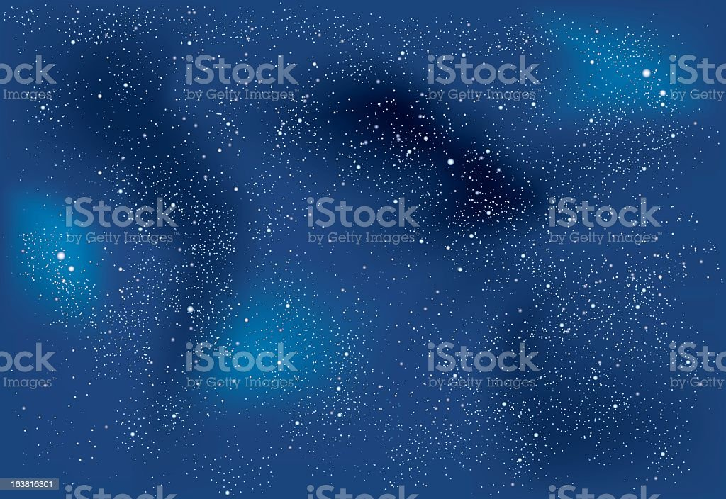 A background of space that is blue with stars vector art illustration