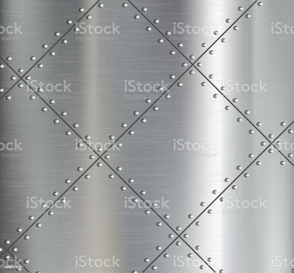 Background of the metal plates with riveted. vector art illustration