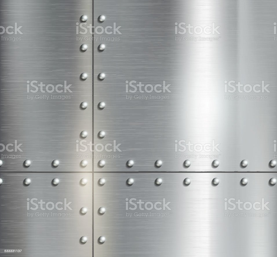 Background of the metal plates with riveted vector art illustration