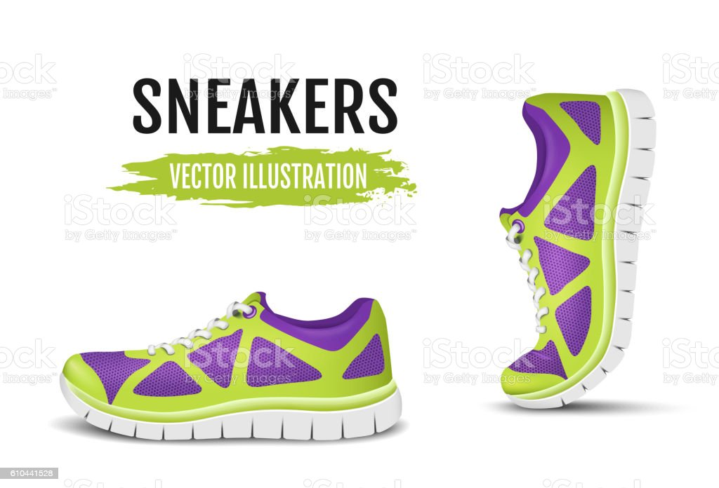 Background of two running shoes. Colorful sport shoes for running vector art illustration