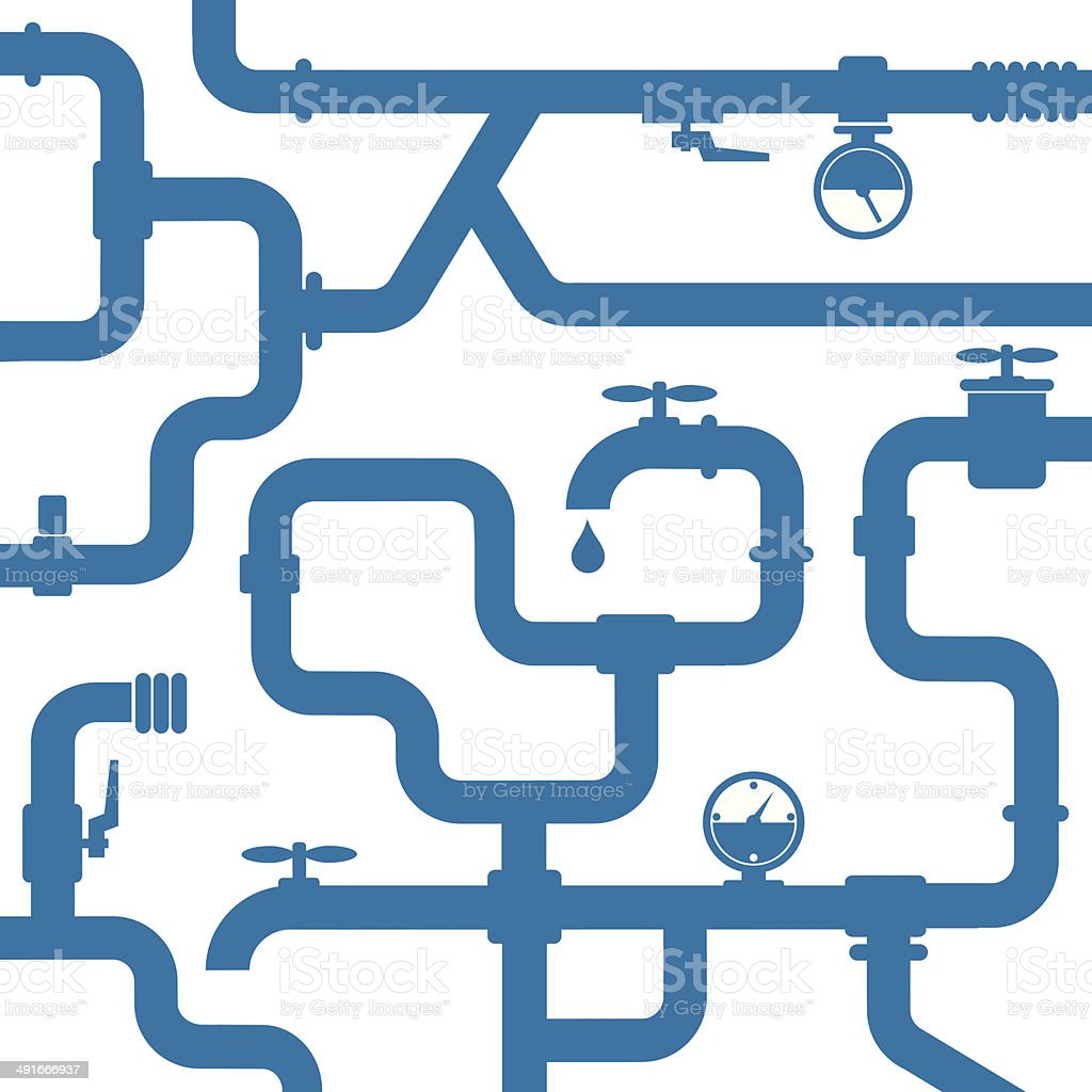background of water pipeline vector art illustration