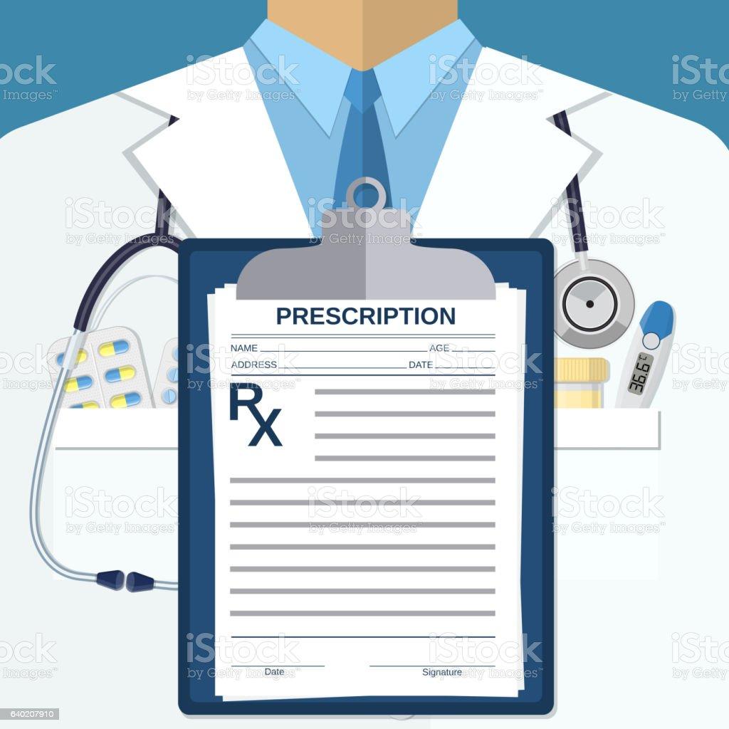 Background of white doctors suit vector art illustration