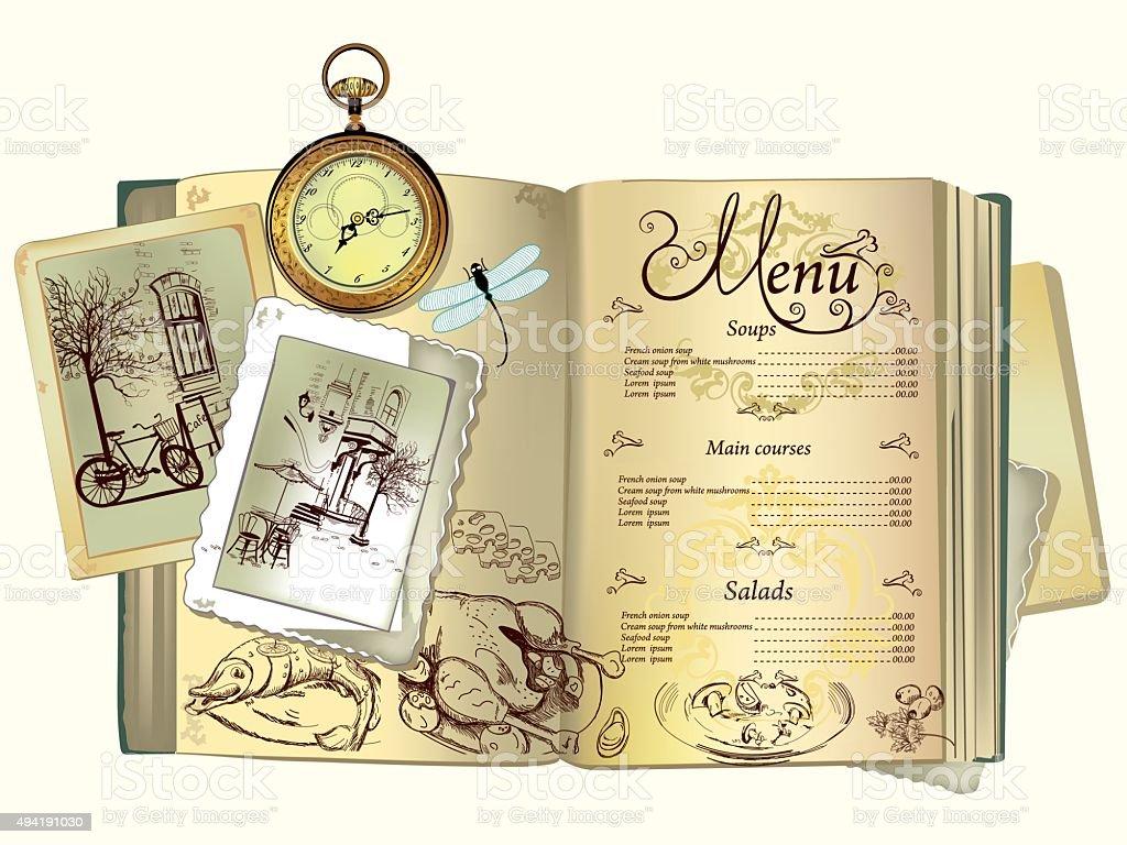 Background on an old book for menu design. vector art illustration