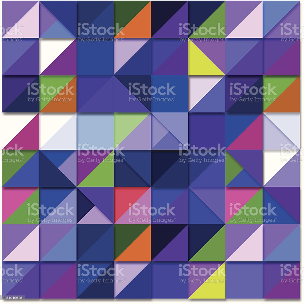 Background origami squares of blue, purple, green, yellow, and orange royalty-free stock vector art