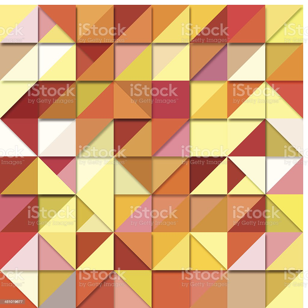 Background origami squares of yellow, orange and pink royalty-free stock vector art