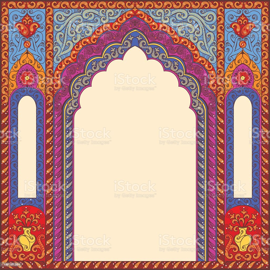 Background ornamented oriental patterned arch. vector art illustration