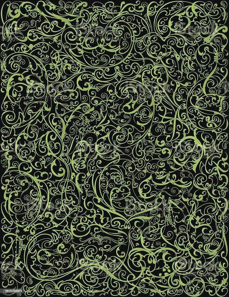 Background - Ornate Vines vector art illustration
