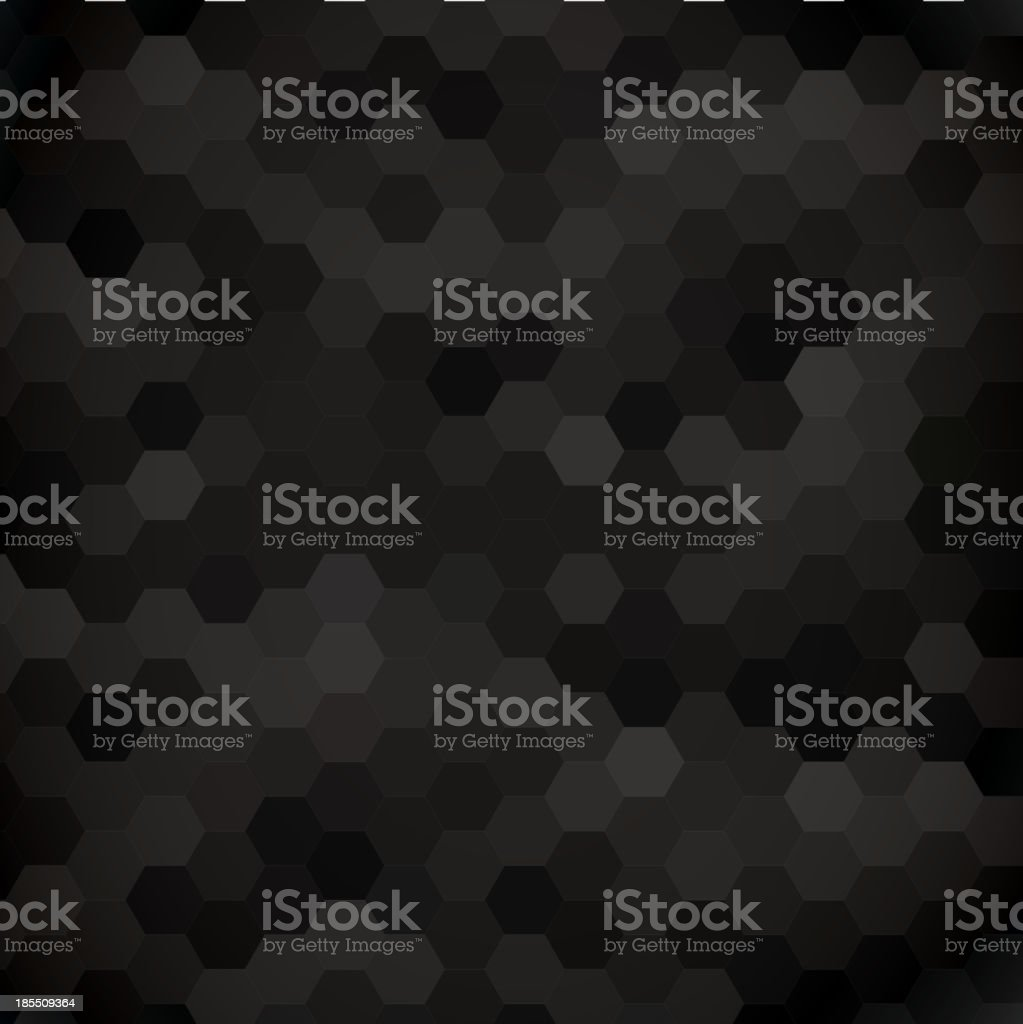 Background pattern of dark grey and black hexagons royalty-free stock vector art