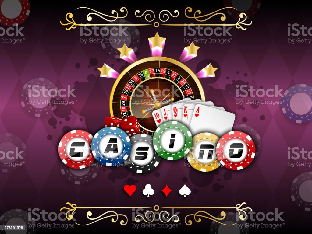 Background purple with casino roulette wheel vector art illustration