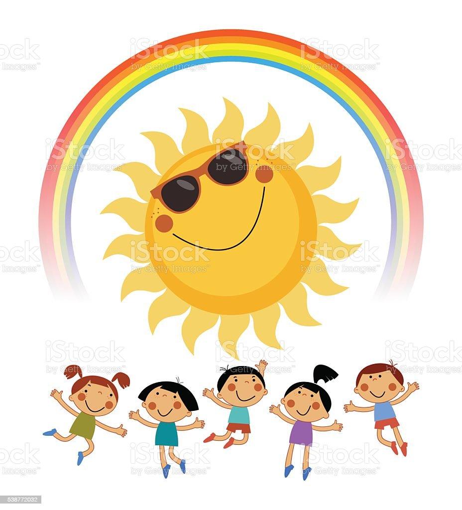 Background Summer With The Kids Rainbow Sun stock vector ...