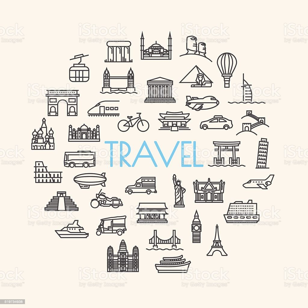 background travel, vacation, famous places Transportation and Ve vector art illustration