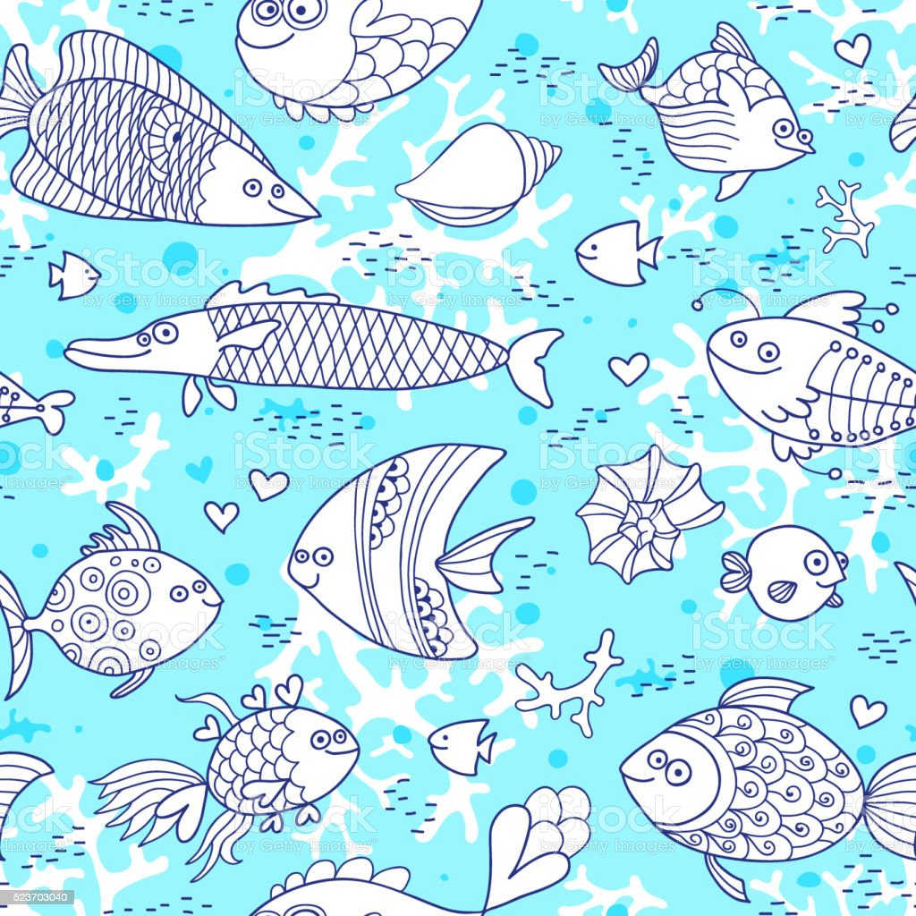 Background underwater world. Seamless pattern with cute fish, shells, corals vector art illustration
