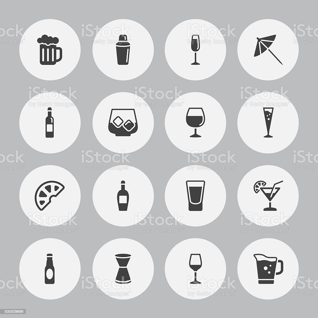 Background Vector Alcohol - 16 Icons vector art illustration