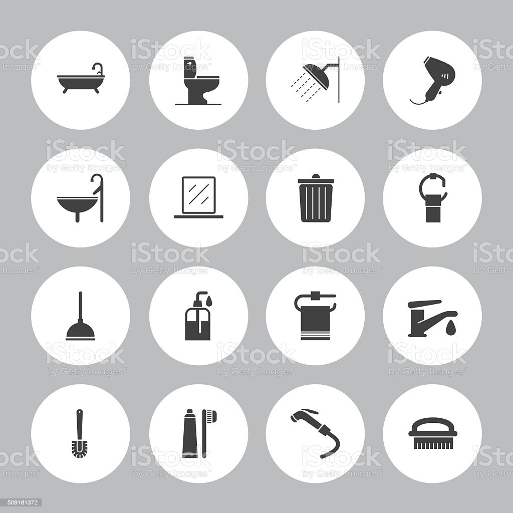 Background Vector Bathroom - 16 Icons vector art illustration