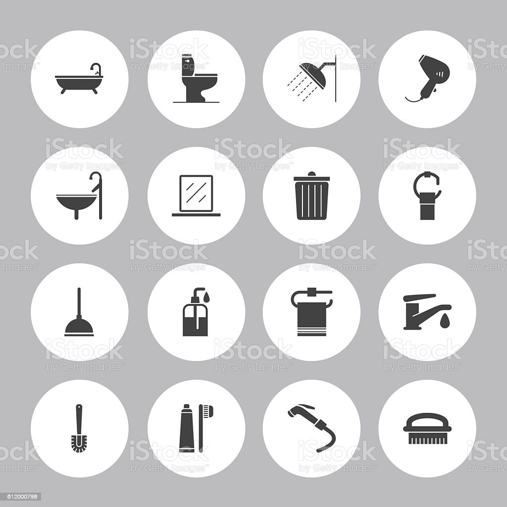 Background Vector Bathroom- 16 Icons vector art illustration