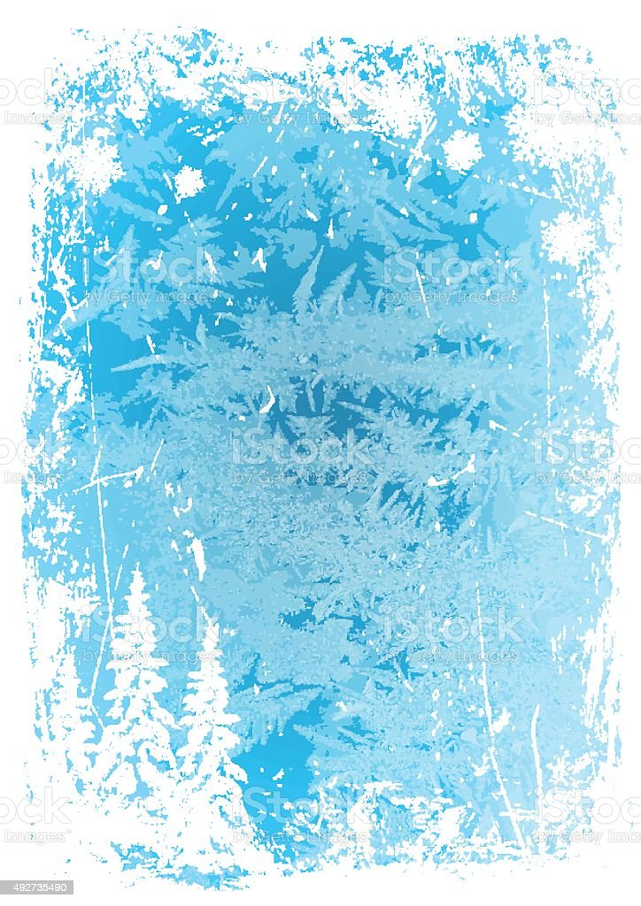 background vertical grunge blue ice pattern with trees and snowflakes vector art illustration