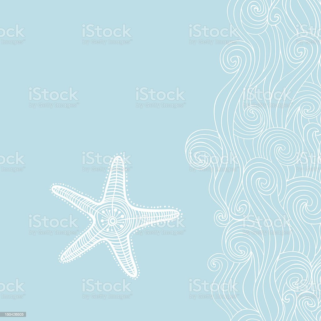 Background waves and starfish vector art illustration
