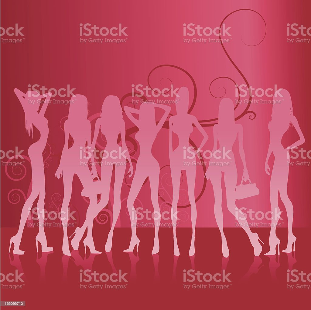 Background with 7 girls vector art illustration