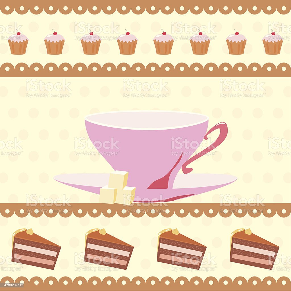 background with a cup of tea and cakes royalty-free stock vector art
