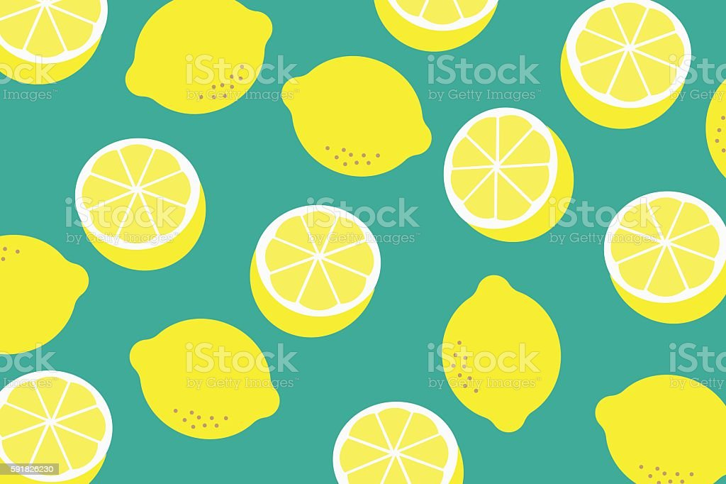 Background with a pattern of yellow lemons vector art illustration