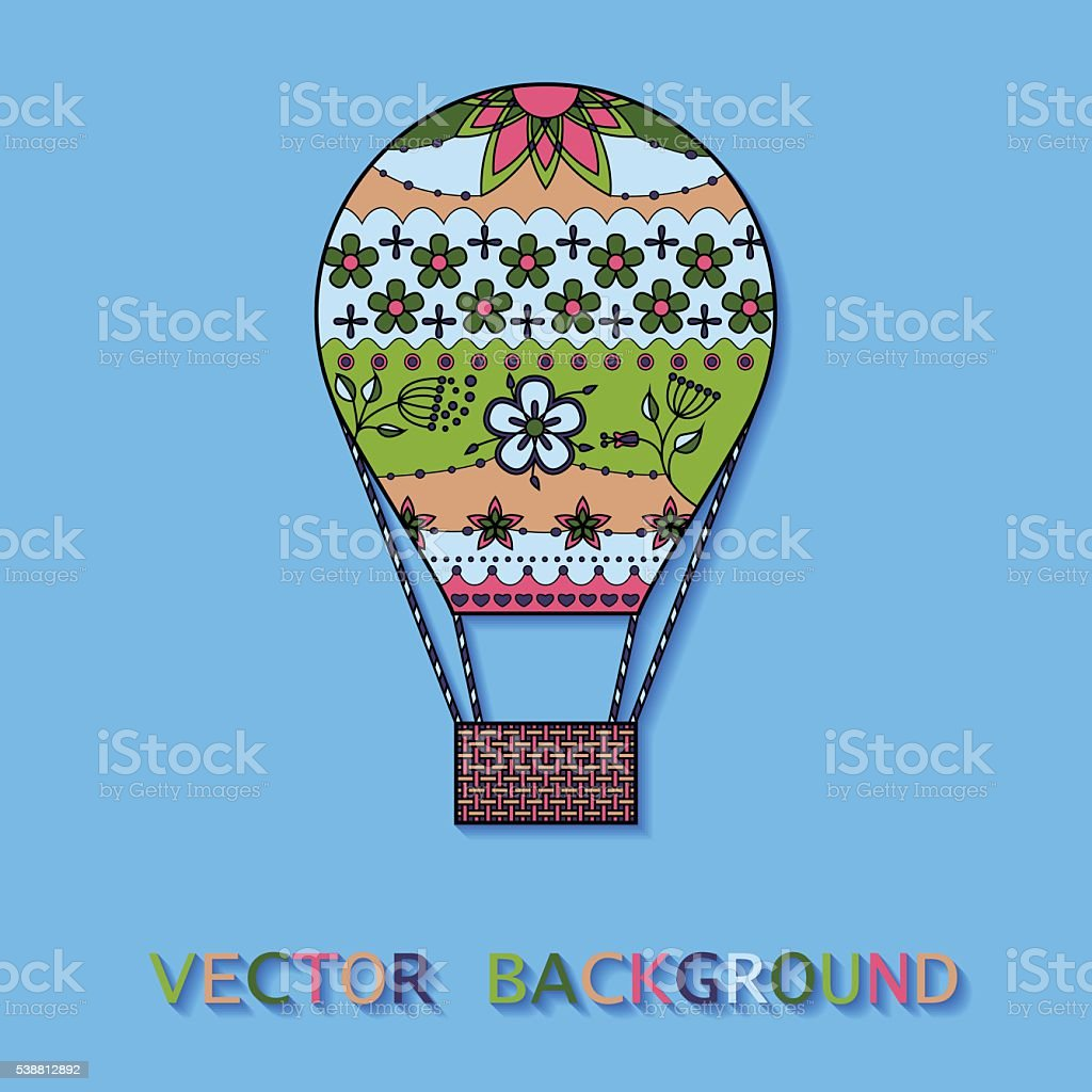 Background with air balloon colorful vector art illustration