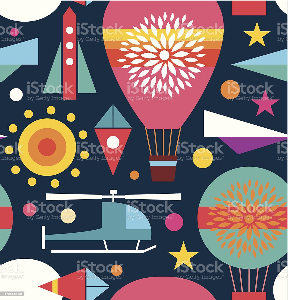 Background with air balloon, helicopter, kite, airplane sky rocket royalty-free stock vector art