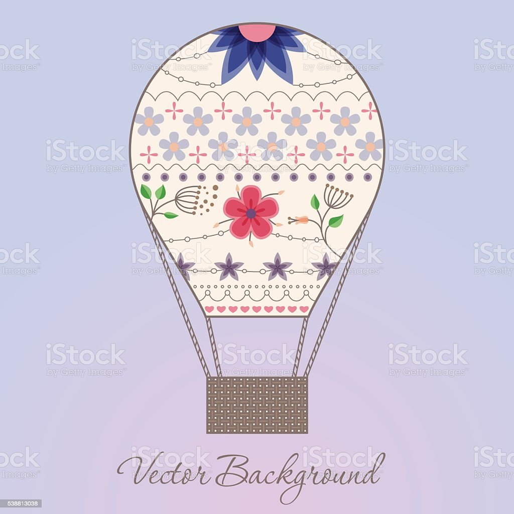 Background with air balloon vintage vector art illustration