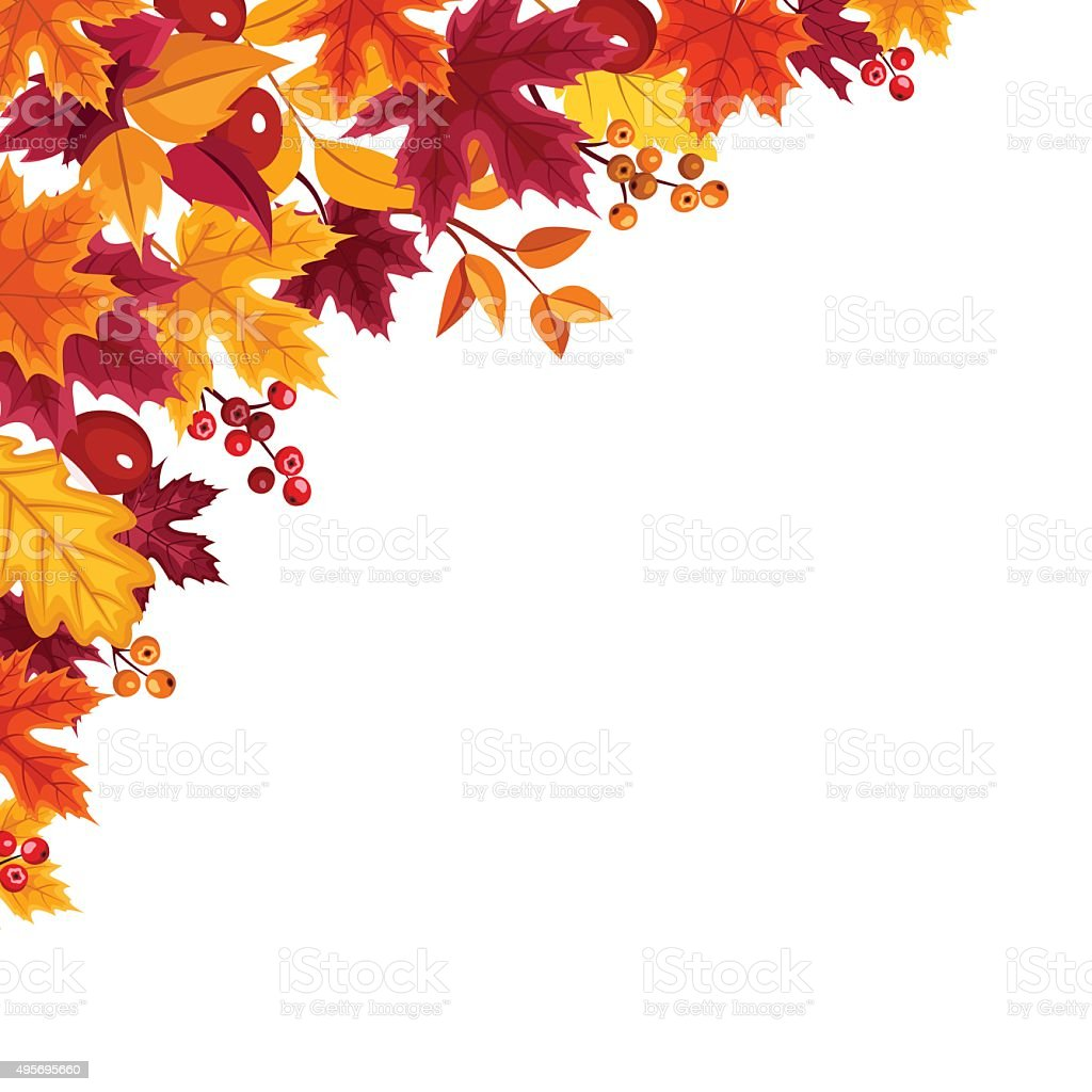 Background with autumn colorful leaves. Vector illustration. vector art illustration