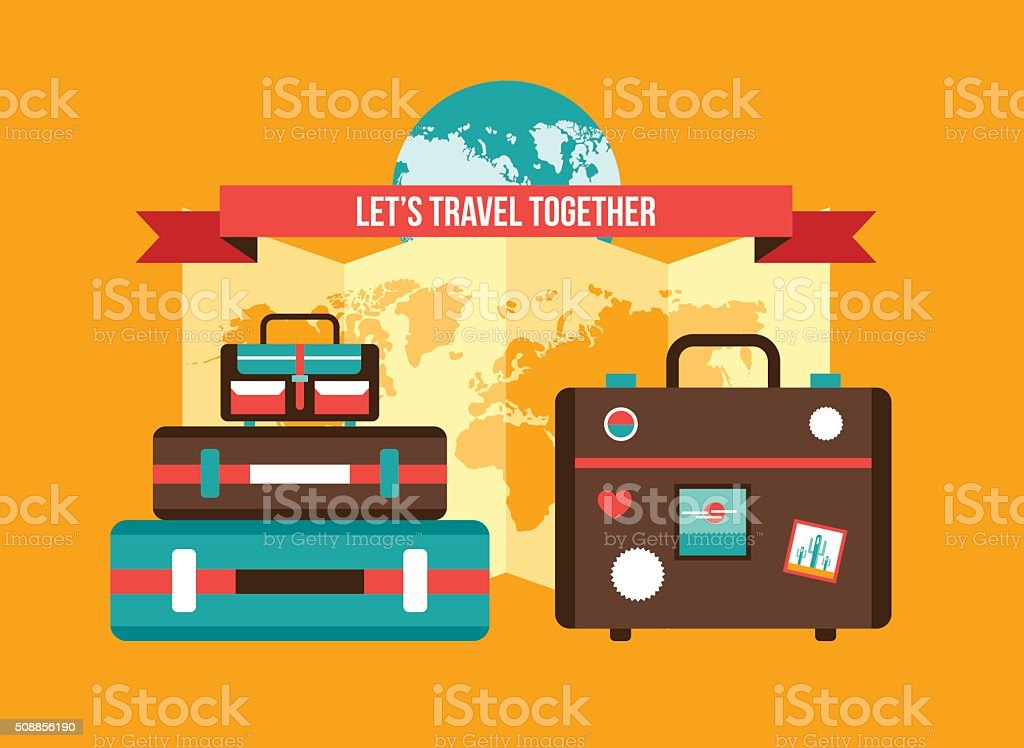 Background with Bag Suitcases World map Vacation Travel planning concept vector art illustration