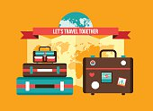 Background with Bag Suitcases World map Vacation Travel planning concept
