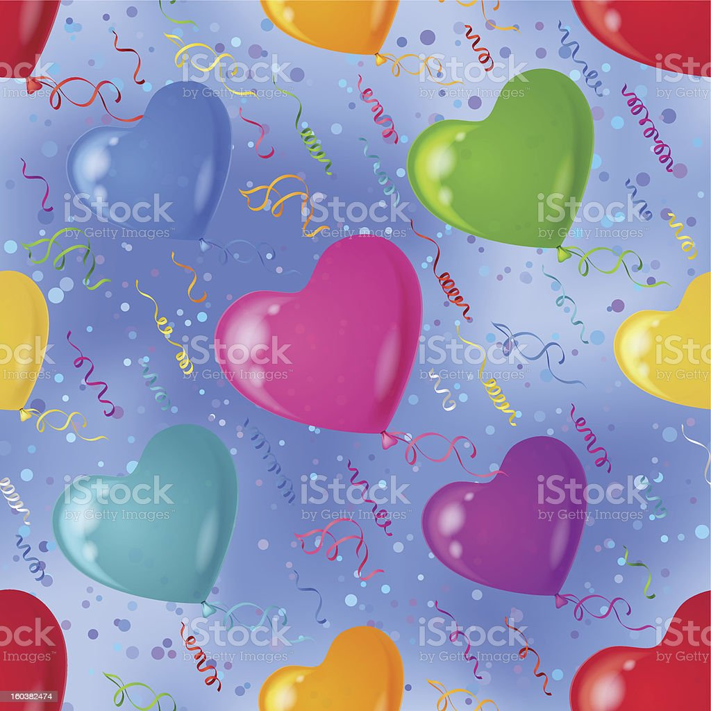 Background with balloon hearts in sky royalty-free stock vector art