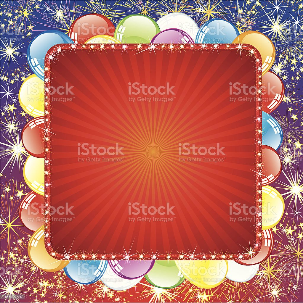 Background with Balloons and Firework royalty-free stock vector art