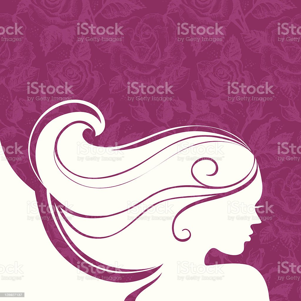 Background with beautiful girl silhouette royalty-free stock vector art