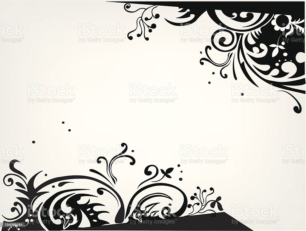 background with black swirly ornament and space for your text royalty-free stock vector art
