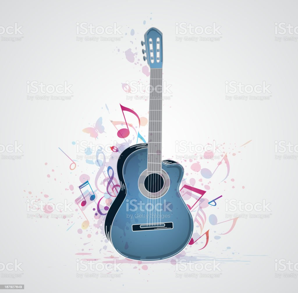 Background with blue guitar royalty-free stock vector art
