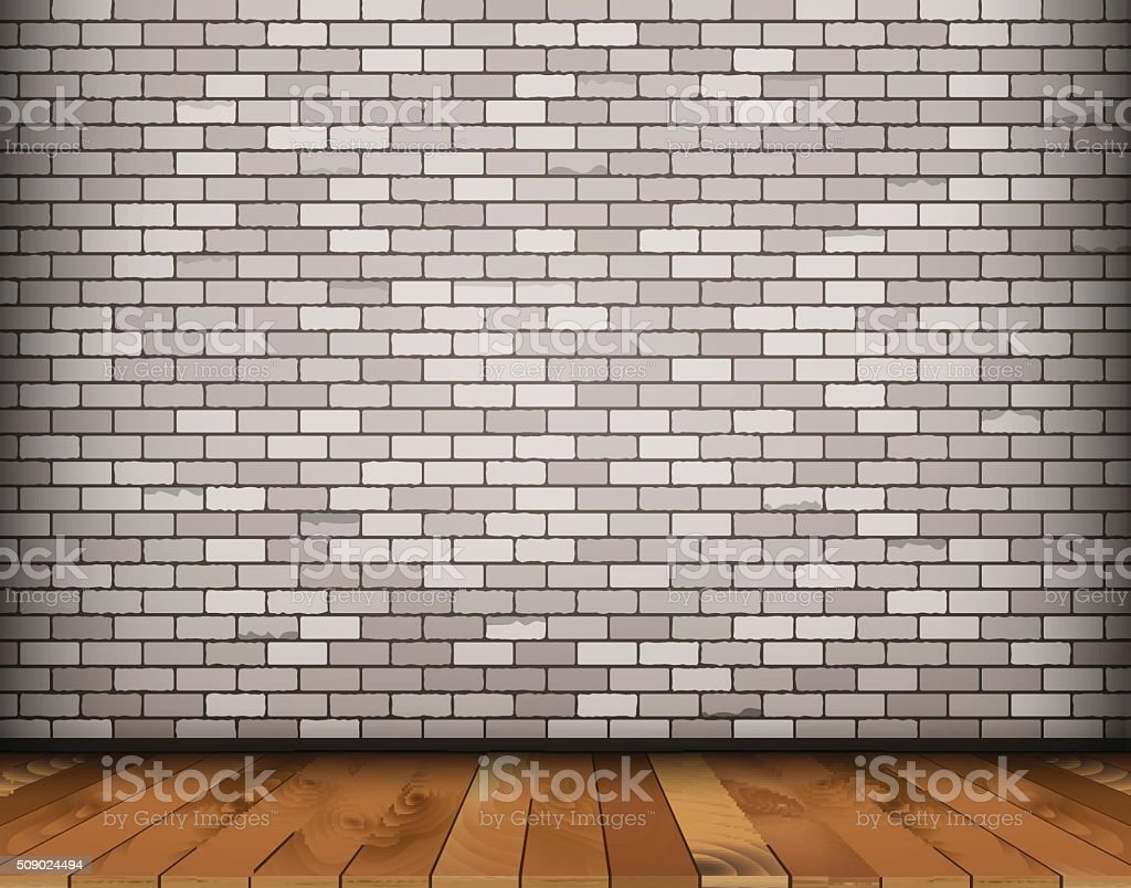 Background with bricks and wooden floor vector art illustration