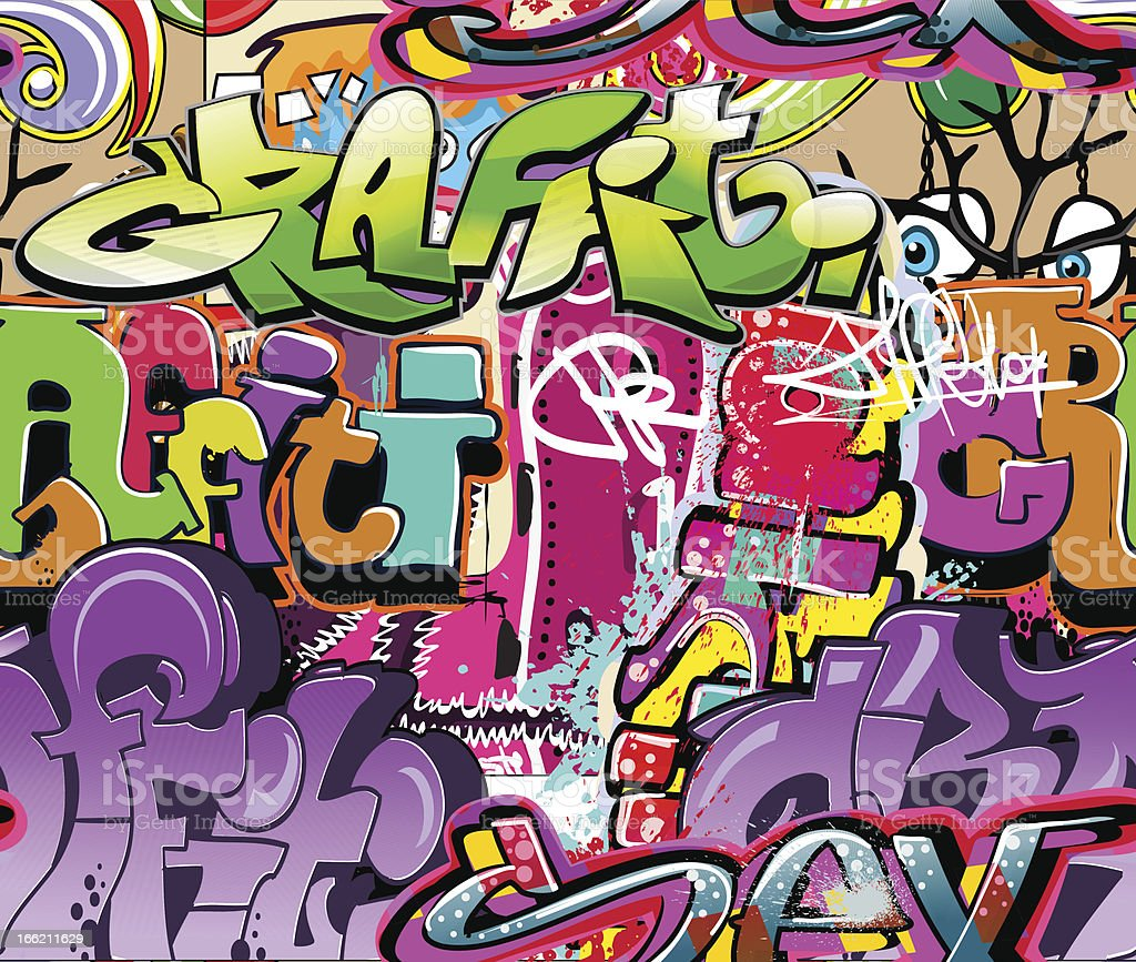 Background with brightly colored graffiti vector art illustration