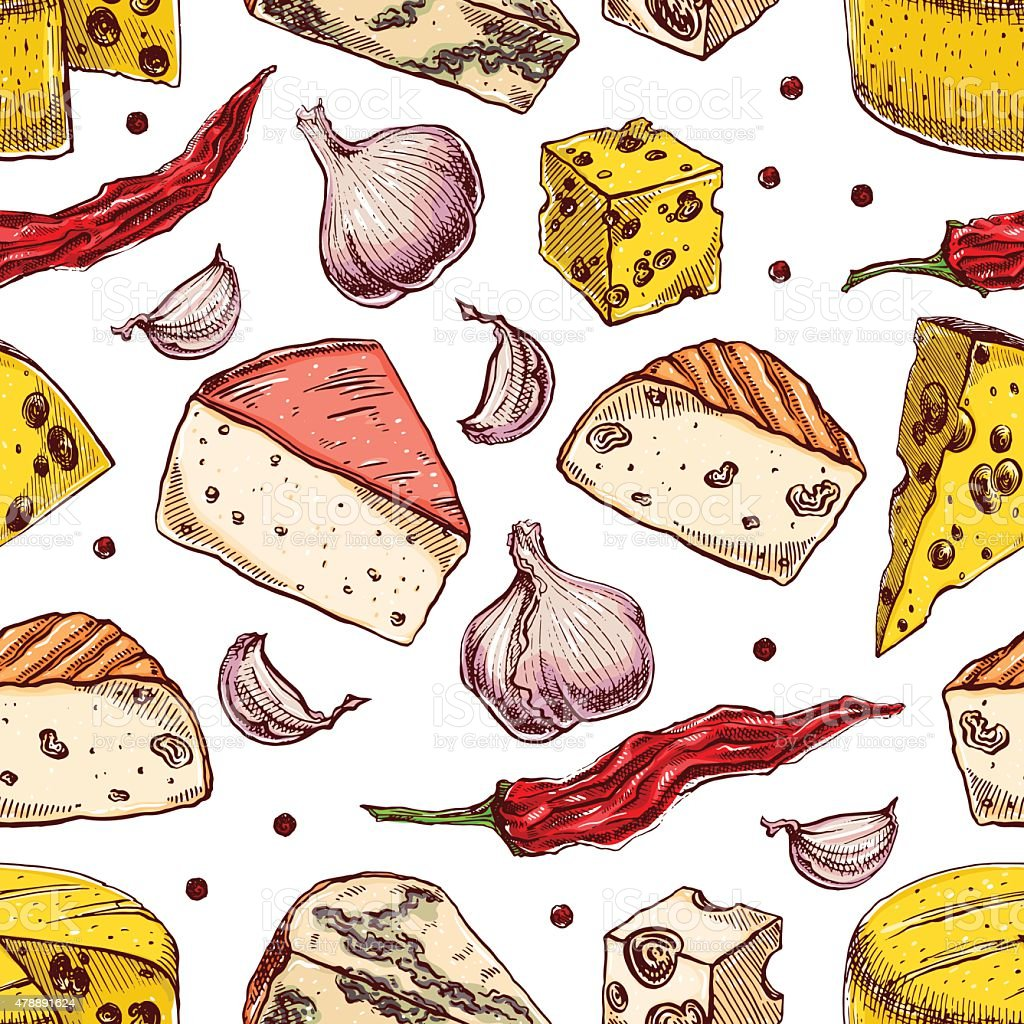 background with cheeses and spices vector art illustration
