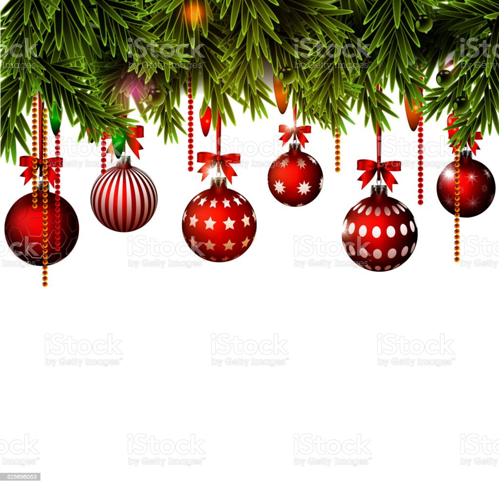 Background with Christmas border vector art illustration