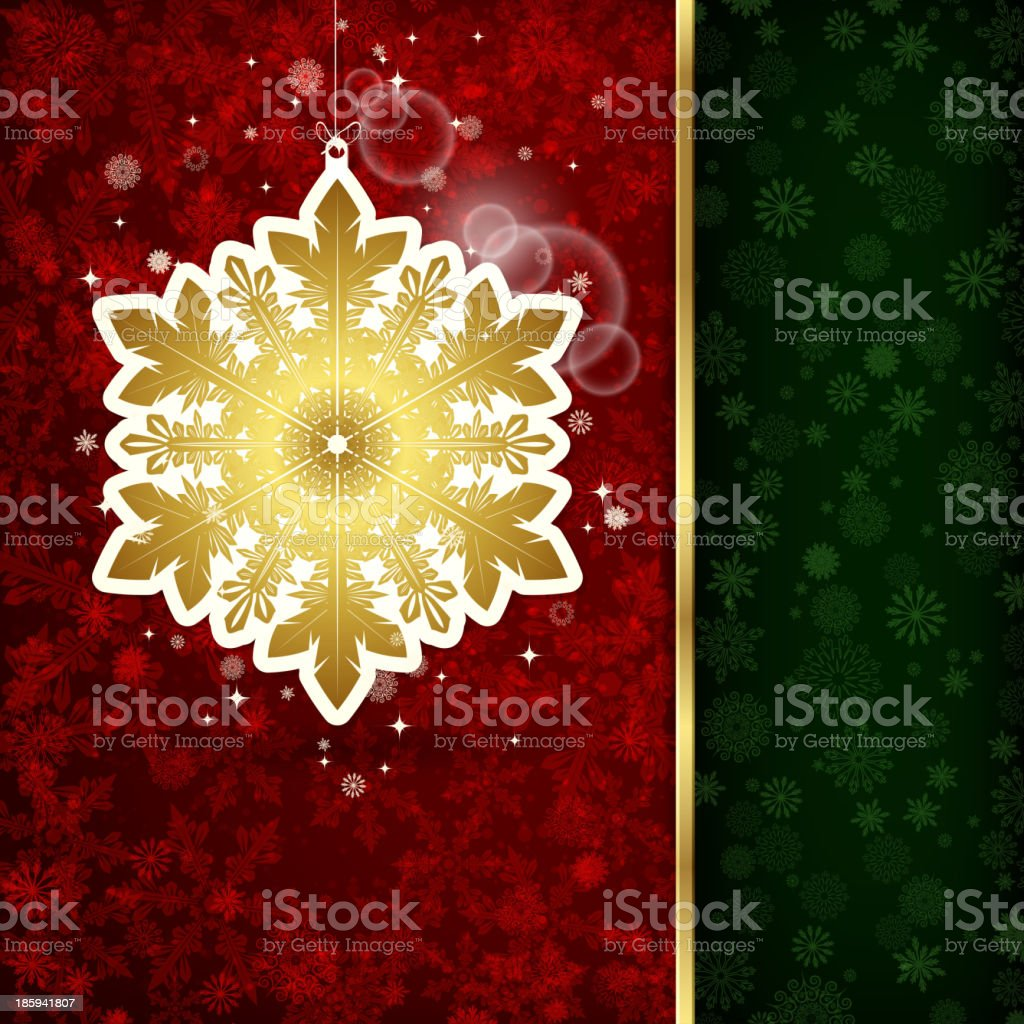 Background with Christmas decoration and snowflakes, illustration. royalty-free stock vector art