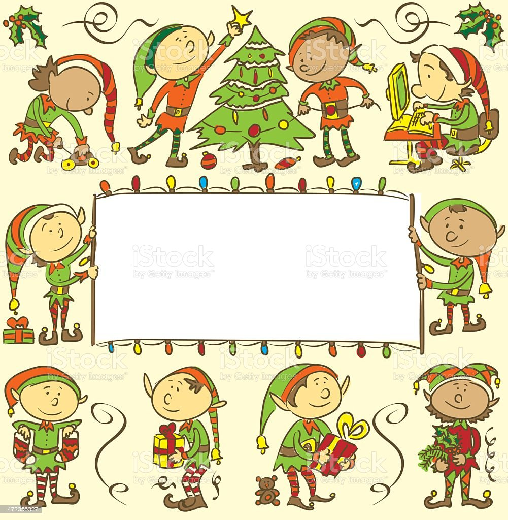 Background with christmas elves royalty-free stock vector art