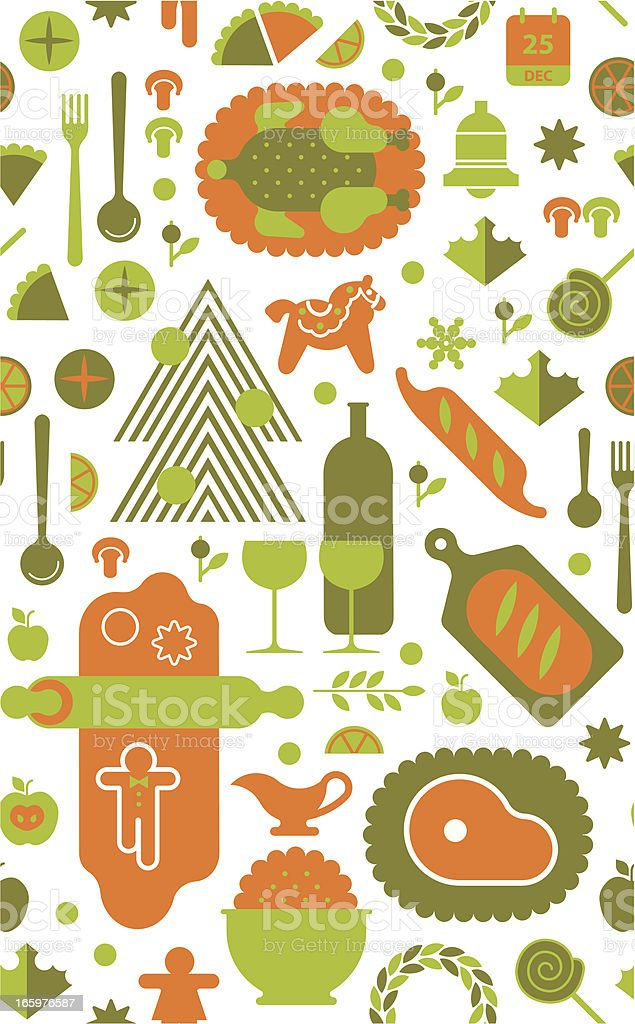 Background with Christmas food vector art illustration