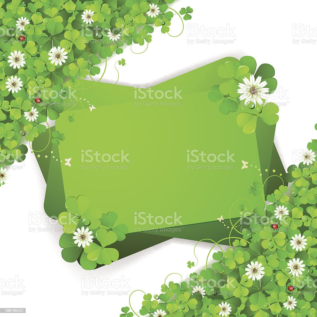 Background with clover and flowers royalty-free stock vector art