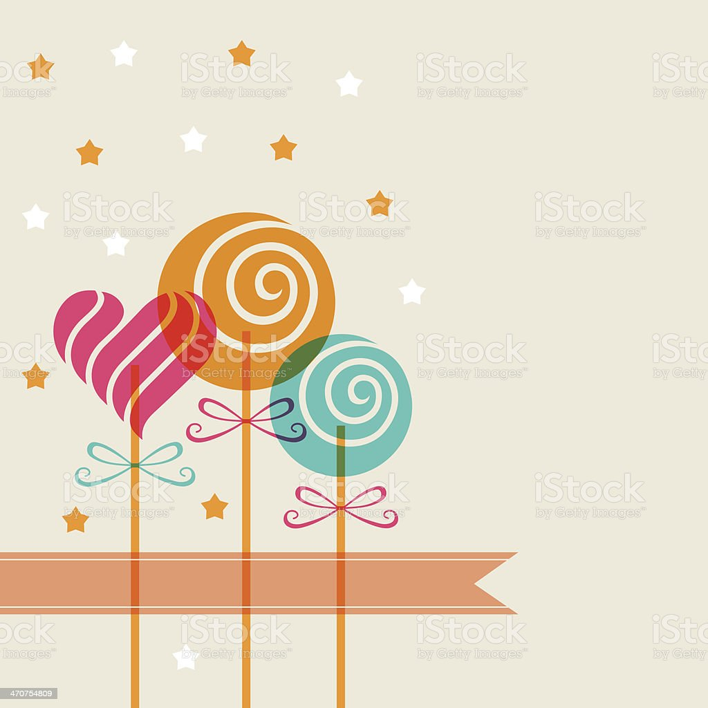 Background with color candy, banner vector art illustration